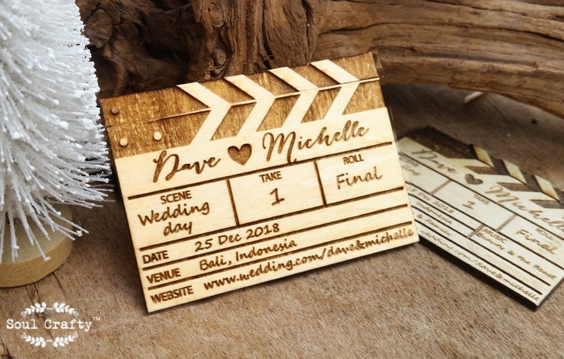 Save The Date Wooden Movie Clapper Board Fridge Magnet image 0