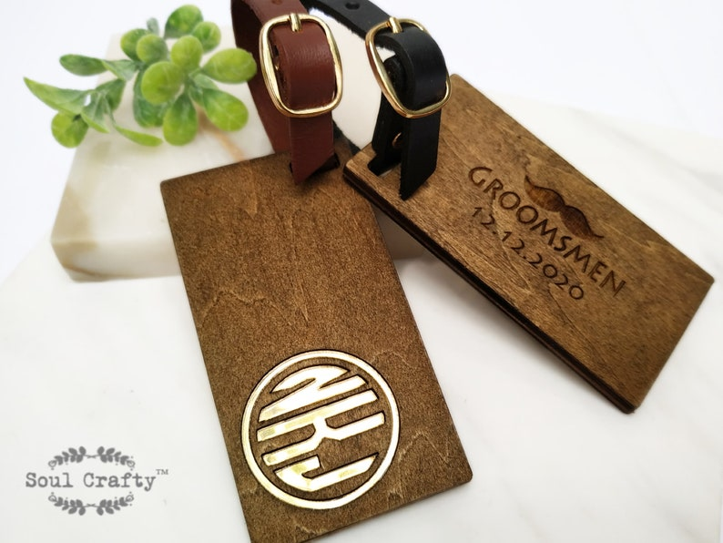 Personalized Monogram wooden luggage tag monogram luggage image 0