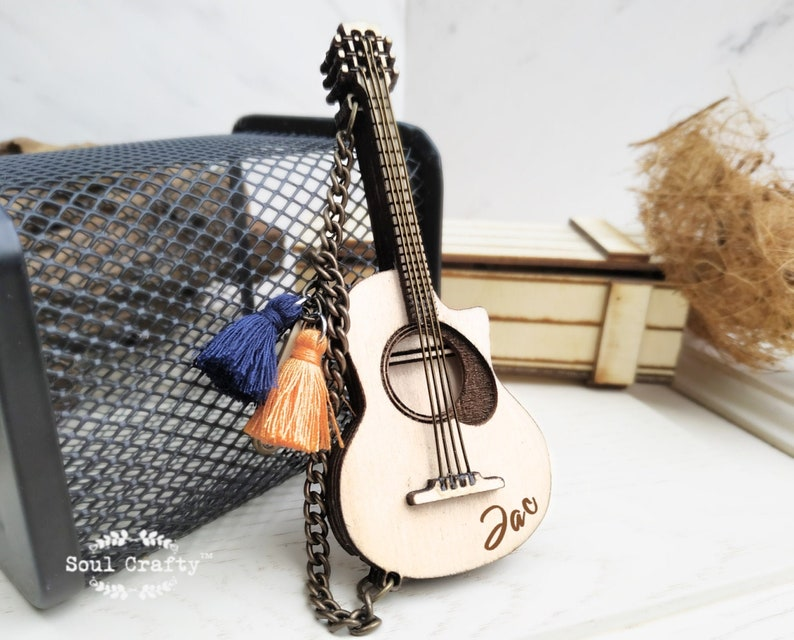 Guitar SD Memory Card Wooden holder key chain for Musician image 0