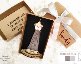 Personalized Will You Be My Bridesmaid,Bridesmaid proposal gift with box,Gray bridesmaid dress,light gray dress,White maxi dress for wedding