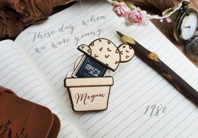 Cactus SD Card Wooden holder for Magnet Wedding Photos USB image 0