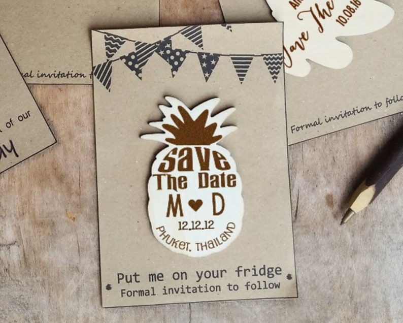 Pineapple Save The Date Wooden Fridge Magnet Tropical image 0