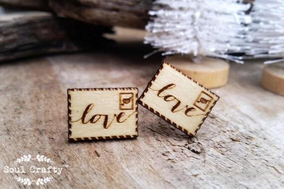 Love Letter Wooden Cufflinks Boy Friend Valentine Dad Grooms Best Man Groomsman Rustic Wedding Birthday Gift Cuff Links Soul Crafty Garden