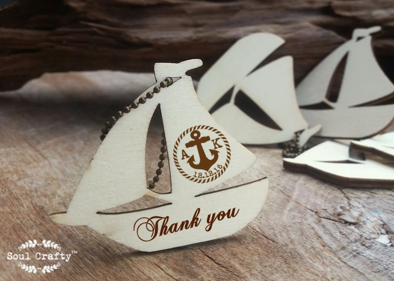 Sailing Yacht Wooden tag Personalized Engraved Thank you image 0