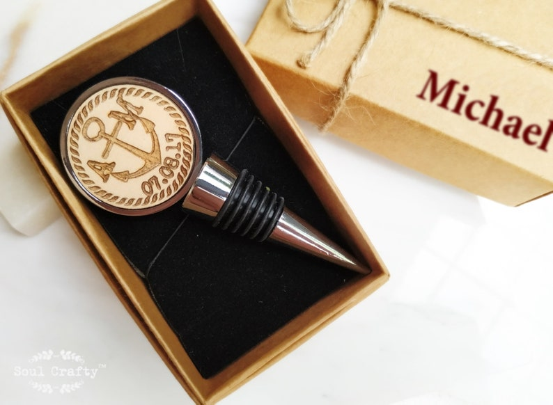 Nautical Anchor Initial Round Silver Wine Bottle Stopper Yes, please :)