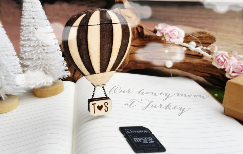 Personalized Hot air Balloon SD Memory Card holder Magnet image 0