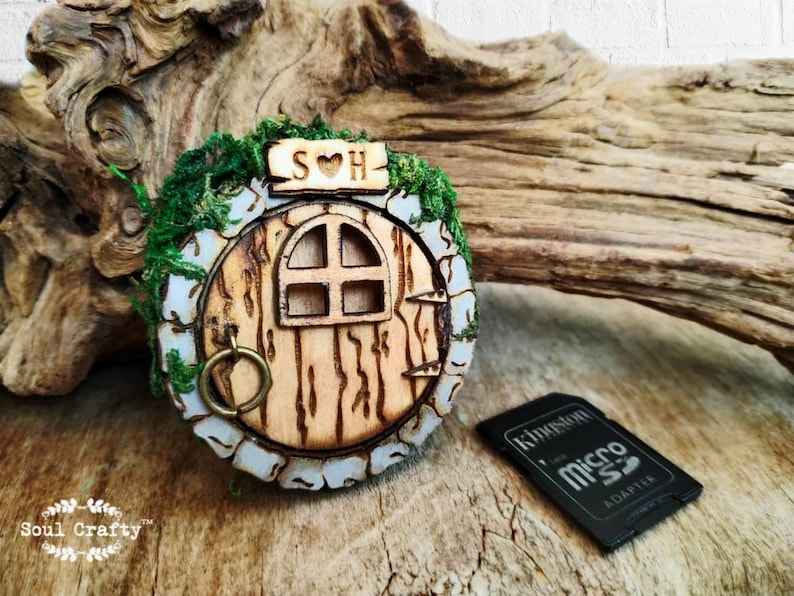 Personalized Fairy or Hobbit House Door SD memory card Wooden image 0