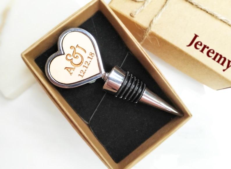 Initials Heart Shape Silver Wine Bottle Stopper Personalized Yes, please :)
