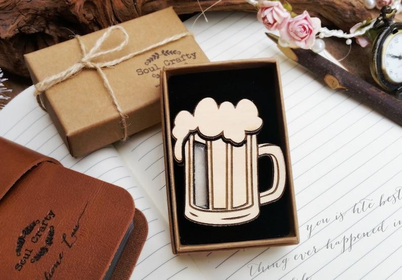 Beer mug SD Memory Card Wooden holder Magnet for Wedding image 0