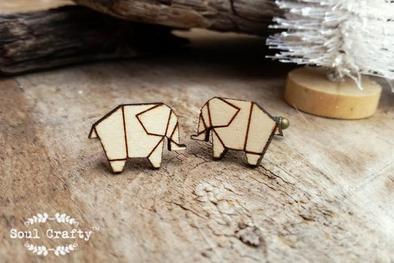 Wooden Origami Paper crane Bronze Cufflinks by Soul Crafty