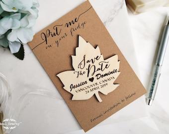 Wooden Maple Leaf Save The Date Fridge Magnet Engraved Rustic Autumn Wedding Gift invitation or Bridal Shower