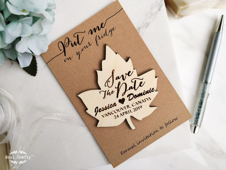 Wooden Maple Leaf Save The Date Fridge Magnet Engraved Rustic Cards+White Envelope