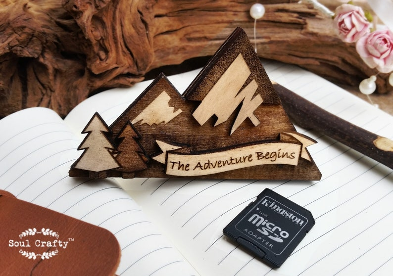 Mountain SD Memory Card Wooden holder Magnet for Wedding image 0