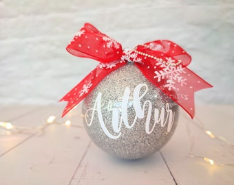 Personalized name Gold Glitter Christmas bauble, personalized xmas ornaments, christmas baubles name, bauble personalise