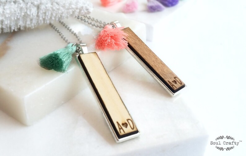 Personalized Initial Wooden Silver Necklace Stainless Steel image 0