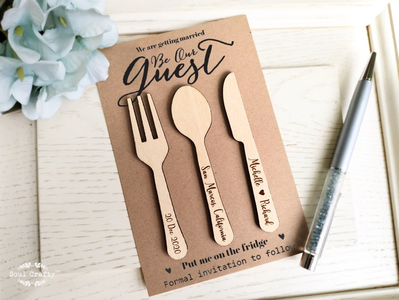 Wooden Cutlery Set Save The Date Fridge Magnet Engraved Rustic image 0