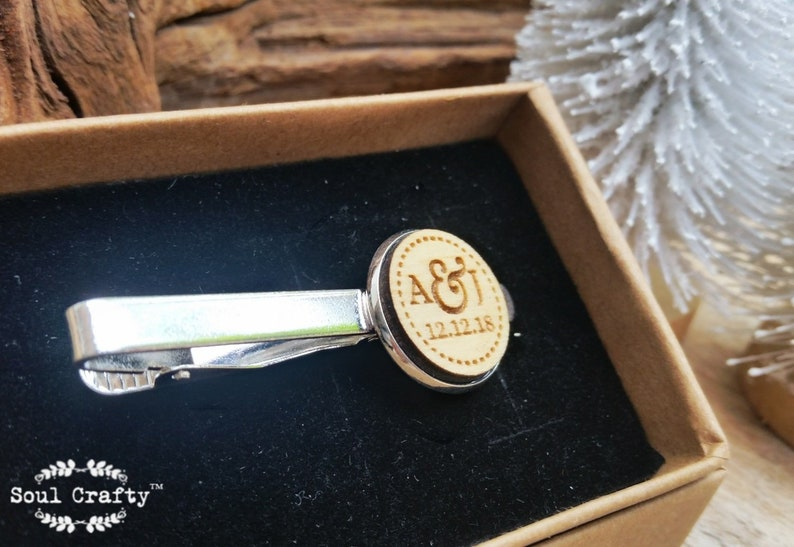 Personalized Initial Wooden Tie Clips For Dad Grooms Bestman image 0