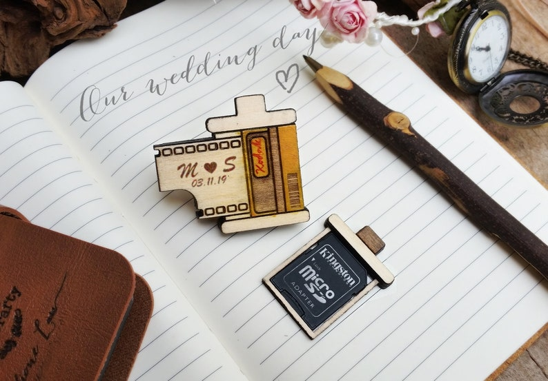 Film Canister SD Memory Card Wooden holder Magnet for Wedding image 0