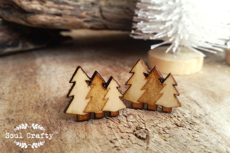 Wooden Pine Trees bronze cufflinks Christmas tree cuff links image 0