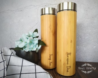 Bamboo thermal bottle with tea strainer 16.9oz - 500ml, Coffee Travel Mug, eco friendly thermos bottle, 304 stainless steel water bottle