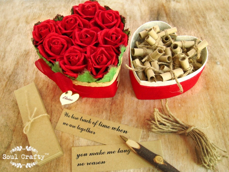 52 reasons I love you because Red Rose Heart Shaped box image 0