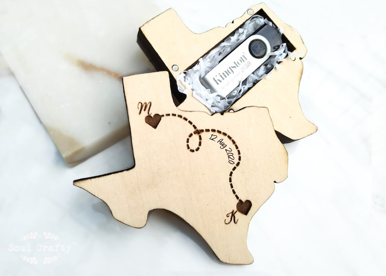 United State Texas Pen drive Storage box for Wedding photo image 0