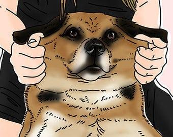 Custom Pet Portrait, black and tanned dog, Puggle, half Pug half Beagle, dog and a girl  (5 x 7 card size)