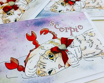 Scorpio Cat zodiac sign + lucky color cards Greeting Card (5x7 size) Cat astrology, brown tabby, american shorthair