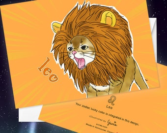 Leo Cat zodiac sign + lucky color cards Greeting Card (5x7 size) Cat astrology, red tabby cat, American shorthair
