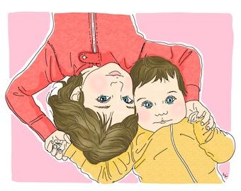 Baby portrait, sister portrait, kids portrait, princess girls, happy kids, baby girl portrait (8x10)