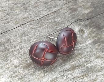 Brown Button Earrings, Basket Weave Brown Button Stud Earrings, Minimalist Brown Earrings, Small Earrings