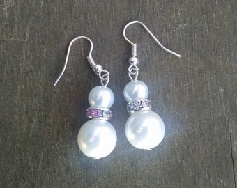 Double Pearl Earrings with Pink Crystal Accents, Faux Pearl Jewelry, Pearl Wedding, Bridal Jewelry - Available in Clip-on Earrings