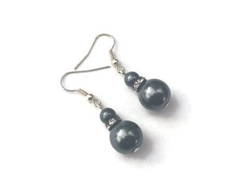 Small Hematite Double Pearl Earrings with Crystal Accents, Faux Pearl Jewelry, Gray Wedding Jewelry - Available in Clip-on Earrings