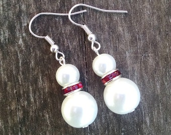 Set of 3 Double Pearl Earrings with Red Crystal Accents