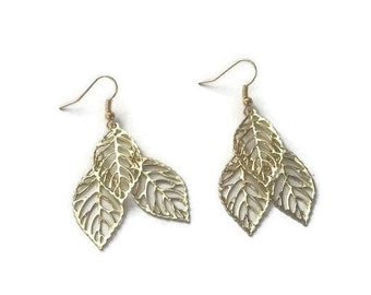 Small Gold Leaf Dangle Earrings, Polished Gold Leaves, Long Delicate Jewelry - Available in Clip-on Earrings