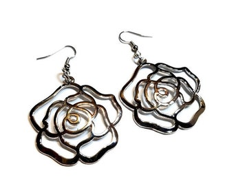 Silver Rose Earrings, Big Silver Flower Earrings, Polished Silver Dangle Earrings