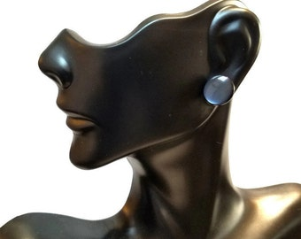 Black Shell Button Earrings, Pearl-Finish Black Button Stud Earrings Minimalist Black Post Earrings