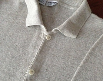 Chico's Beige Cardigan Sweater 60% Linen 40 Cotton Fresh From Cleaner Size ML See measurements 6 Pearl Button Closure Boxy Fit Goes with All