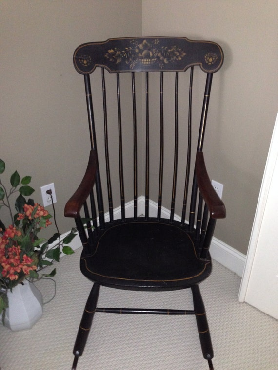Sensational Antique Rocking Chair Boston Rocker Country Farmhouse Shabby Chic New England Hitchcock Style Cottage Decor Nursery Delicate Elegant Style Squirreltailoven Fun Painted Chair Ideas Images Squirreltailovenorg
