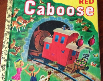 Vintage Golden Book 1953 First Edition The Little Red Caboose Excellent Vintage Condition Good Spine Names on Front Cover
