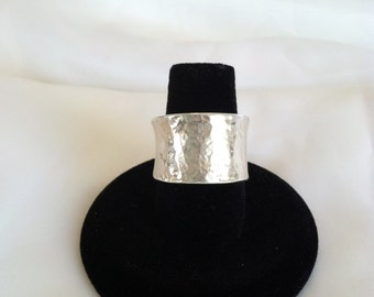 Sterling Silver Wide Band Ring- 14mm Hammered, Anticlastic - Valentine