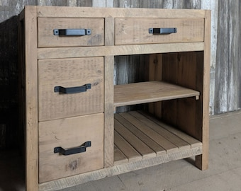 Bathroom Vanity made from Reclaimed Pine Barn Wood, with X-Brace on Side, Made to Order - Tiffin