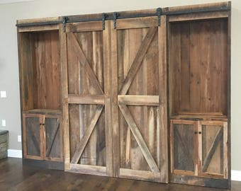 Rustic Entertainment Center Reclaimed Pine Barn Siding Sliding Doors And Track Made To Order Free Shipping