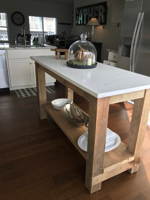 Barn Wood Kitchen Island With Quartz Top Made From Reclaimed Etsy