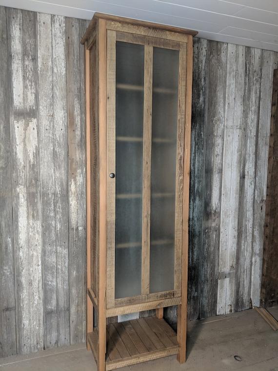 Rustic Bathroom Linen Cabinet With Glass Door Reclaimed