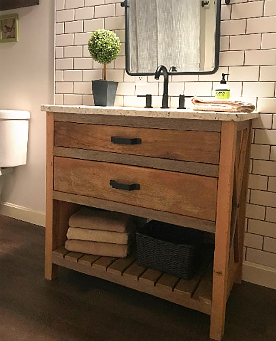 Bathroom Vanity With X Braces Made From Reclaimed Pine Barn Etsy