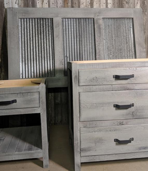 Bedroom Furniture made of Reclaimed Barnwood Reclaimed Corrugated Metal.  Headboard, Nightstand, Dresser, Custom Made Bartley