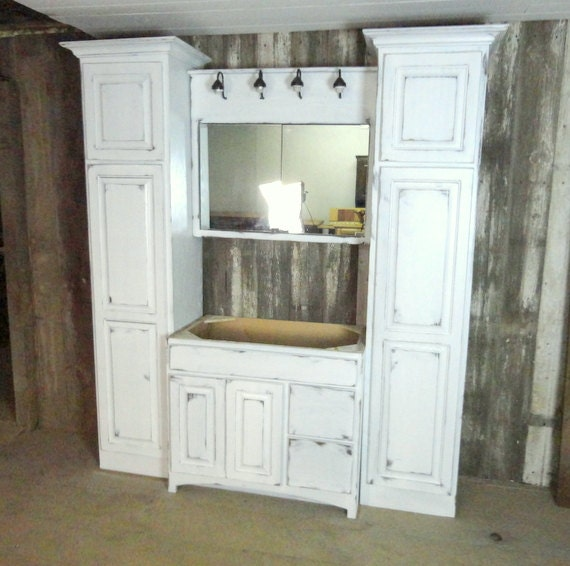 Rustic white washed bathroom cabinet set made from barn wood