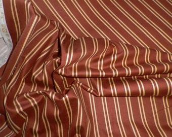 Wilson Wilcox Cotton Interiors Rust Cream Striped Fabric 'Henley' Canterbury Tales Collection