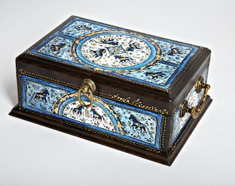 Wooden jewelry (tea) box with a dark blue little horses!